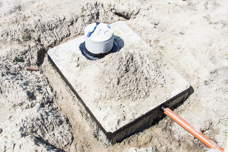 New concrete septic tank - construction site. Stock Photo