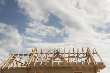 New wooden rafter framing Stock Photo - 84041754