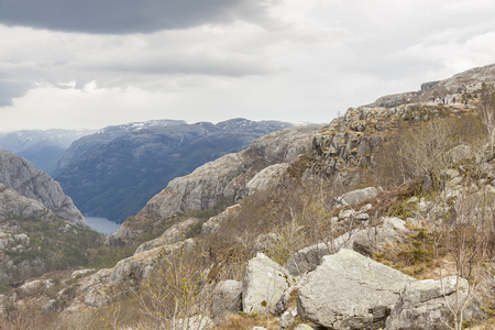 View from trail to Preikestolen cliff in Norway.