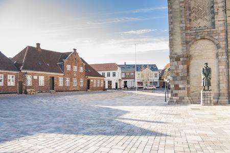 RIBE, DENMARK - MAY 7, 2017: Empty street  of old town on sunny sunday  on may 7, 2017 in Ribe, Denmark.