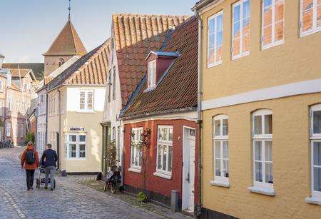 RIBE, DENMARK - MAY 7, 2017: Street  of old town on sunny sunday  on may 7, 2017 in Ribe, Denmark.