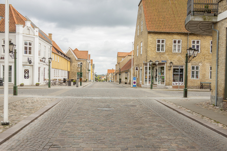 CHRISTIANSFELD, DENMARK - MAY 9, 2017: Street of old town  which enjoys UNESCO World Heritage patronage on may 9, 2017 in Christianfeld, Denmark.