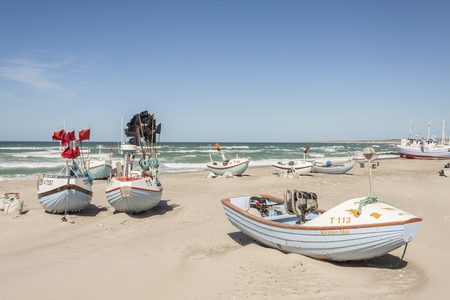 NORRE VORUPOR, DENMARK - MAY 8, 2017: Fishing boats on the beach on may 8, 2017 in Norre Vorupor, Denmark. Editorial