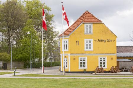 JELLING, DENMARK - MAY 9, 2017:  Street in center of town on may 9, 2017 in Jelling, Denmark.