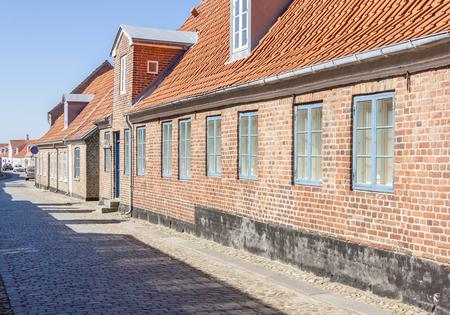 RINGKOBING, DENMARK - MAY 8, 2017: Street  of old town on sunny sunday  on may 8, 2017 in Ringkobing, Denmark.