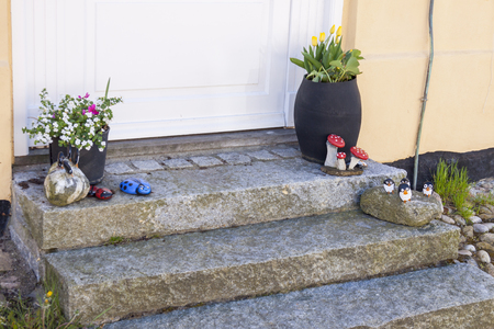 Small stairs decoration - old town Ringkobing in Denmark