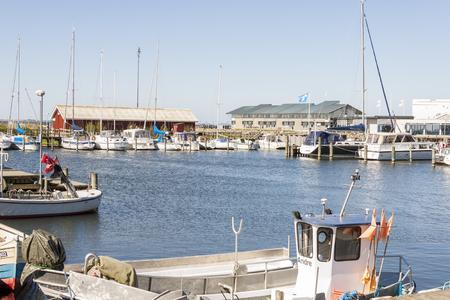 RINGKOBING, DENMARK - MAY 8, 2017: View on marina in  old town on sunny sunday  on may 8, 2017 in Ringkobing, Denmark.
