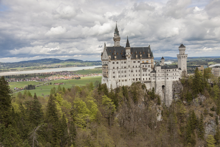 Neuschwanstein Castle, the nineteenth-century Romanesque Revival palace built for King Ludwig II on a rugged cliff near Fussen, southwest Bavaria, Germany.