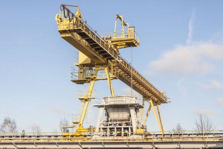 Big yellow industrial gantry in Poland. Zdjęcie Seryjne
