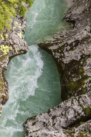 Velika Korita canyon on river Soce in Slovenia.