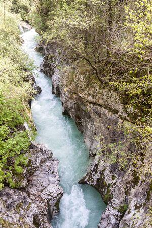 Velika Korita canyon on river Soce in Slovenia. Zdjęcie Seryjne