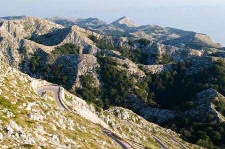 Croatian mountain Biokovo in Makarska at hill Sveti Jure 1768 m. high, late noon photo