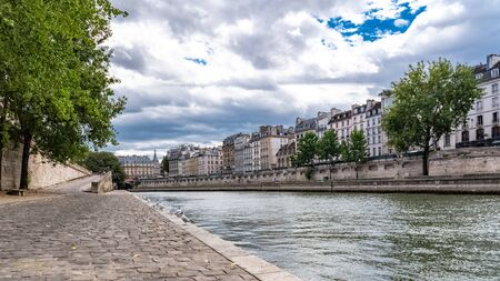 Paris, panorama of the Conti wharf, typical view of the quays