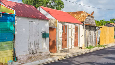 Typical colorful houses in Marie-Galante island in Guadeloupe