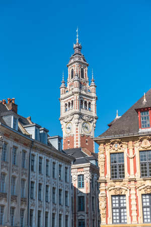 Lille, old facades in the center, the belfry of the Chambre de Commerce in background Zdjęcie Seryjne