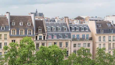Paris, beautiful buildings, typical parisian facades in the center, view from Beauboug Banque d'images