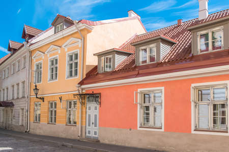 Tallinn in Estonia, colorful houses in the medieval city, typical buildings
