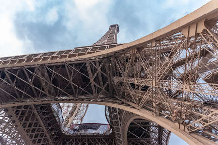 Paris, Eiffel tower, panorama from the Champ de Mars, detail Stock Photo