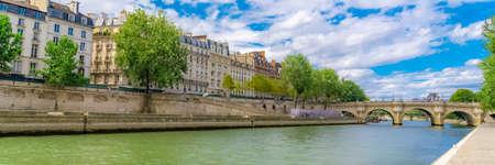 Paris, view of ile saint-louis and quai d'Orleans, beautiful buildings and quays in summer