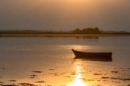 Arz island in the Morbihan gulf, panorama at sunrise