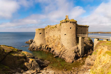 Yeu island in France, beautiful landscape, the ruins of the ancient castle on the sea