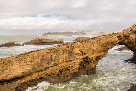 Biarritz in France, panorama of the lighthouse on the coast