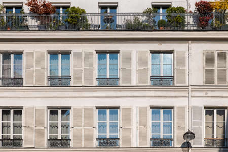 Paris, typical facade, geometry of the windows Stock fotó