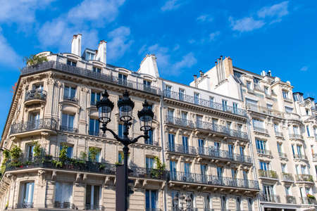 Paris, typical facades and street, beautiful buildings at Republique