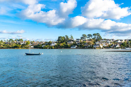 Brittany, Ile aux Moines island in the Morbihan gulf, the typical harbor and old houses in the village