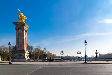 Paris, the Alexandre III bridge on the Seine, with the Eiffel Tower in background