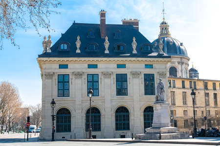 Paris, quai Malaquais near the Seine, beautiful place with the Institut de France in background Stock Photo