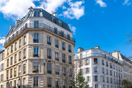 Paris, typical building boulevard Parmentier, in the 11th arrondissement, typical parisian facade