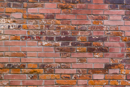 old red brick wall texture , background .