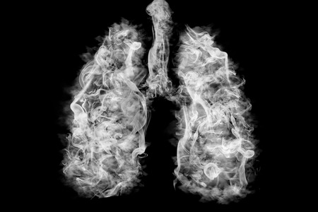 Illustration of a toxic smoke in Lung . cancer or illness concept Stok Fotoğraf