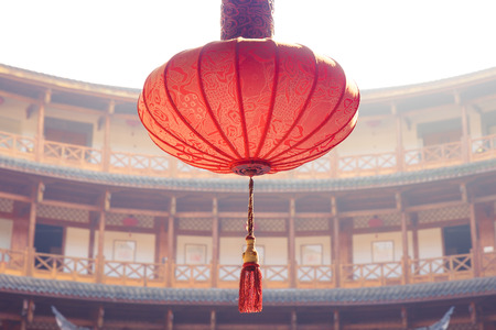 chinese new years lantern inside a temple in china in day