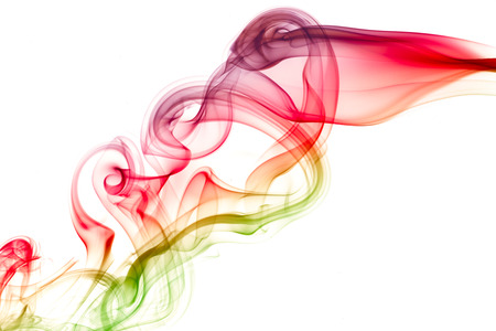 abstract image of color smoke flowing over white background