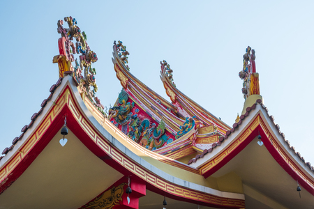 Traditional Ornament of Thai Temple Roof in Bangkok . Southeast Asia .