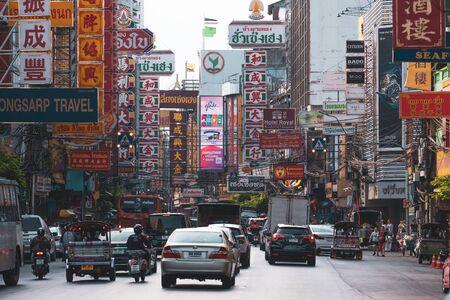 Yaowarat road in the Chinatown of Bangkok . Thailand .