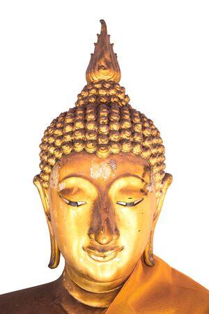 Tête de bouddha doré isolé sur fond blanc. Culture asiatique. Banque d'images