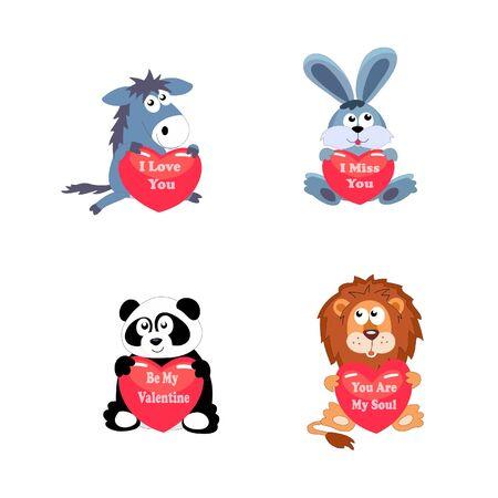 Set of animal love vector illustration