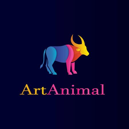 Animal logo with bufalo and colorful Illustration