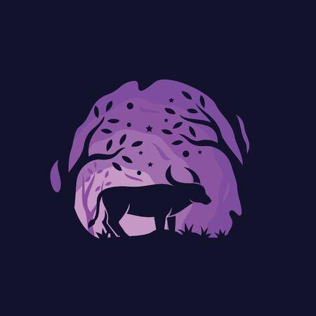 Bufalo jungle logo template Illustration