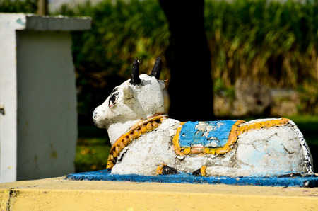 Sacred cow from Tamil temple Stock Photo