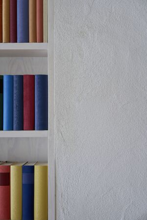 Upright format of a white wall with colorful books in a bookshelf