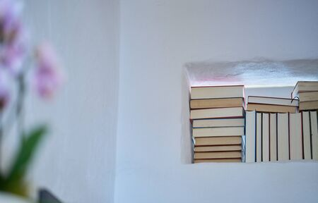 Detail of stack of books in a space in a textured white wall of a room in a modern house, unsharp flower in the foreground