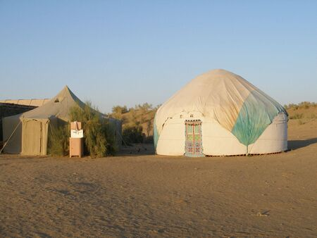 Yurts in Uzbekistan Stock Photo