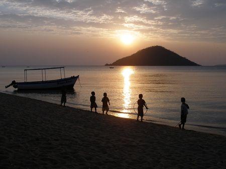 Sunset with children