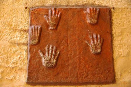 Sati hands, Rajasthan Stock Photo