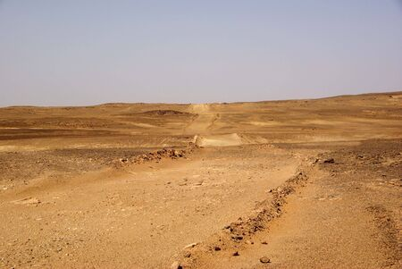 Trail in Libyan desert Stock Photo