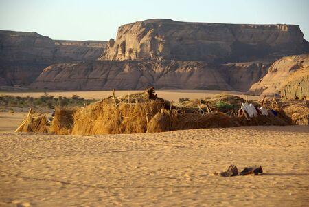 libyan: Village in Libyan desert Stock Photo